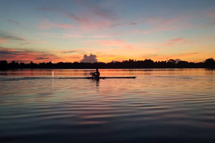 photo of Dr. DeVault rowing