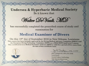 image of Medical Examiner of Divers certificate